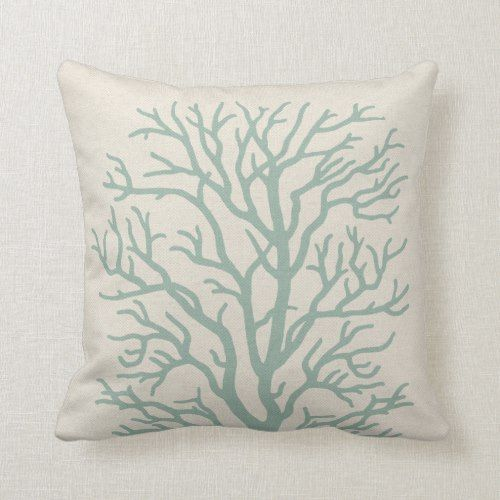 Coral Tree In Seafoam Green Throw Pillow Zazzle Com Green