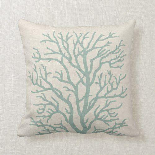 Coral Tree In Seafoam Green Throw Pillow Zazzle Com Seafoam