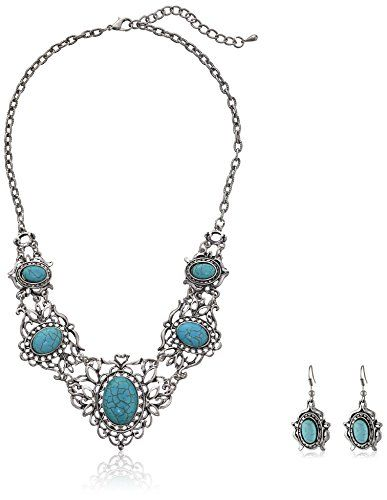 Yazilind Hollow Tibetan Sliver Green Rimous Oval Turquoise Bib Collar Earrings Necklace Jewelry Set Women Yazilind http://www.amazon.com/dp/B00L1SX084/ref=cm_sw_r_pi_dp_42L9ub0QBYQTZ