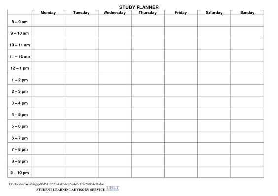 Study Planner Template Paper Crafty - Printables Pinterest - student agenda template
