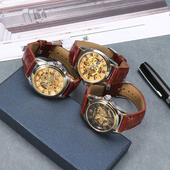 BOSCK Charming Business Leather Stainless Steel Mechanical Automatic Watch