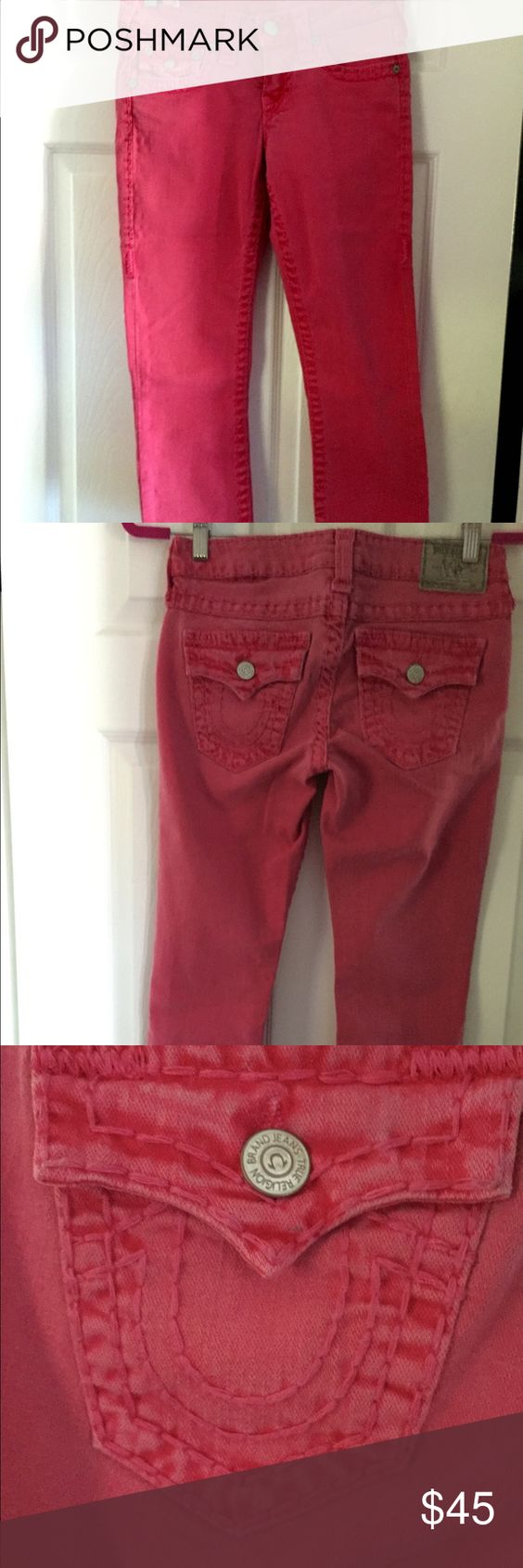 Authentic True Religion capris The color said fuchsia, but there more of a washed coral. Size 27. True Religion Pants Capris