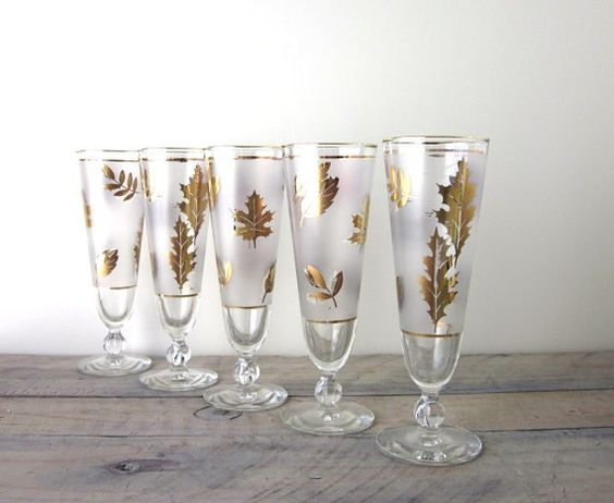 Vintage Libbey Golden Folage Pilsner Glasses Set of by 22BayRoad