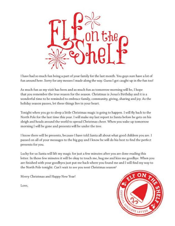 Printable Goodbye Letter from Elf on the Shelf @Amber McDaniel this is cute for holly and hailey!