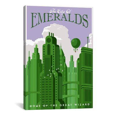 """iCanvas Emerald City Travel by Steve Thomas Graphic Art on Wrapped Canvas Size: 26"""" H x 18"""" W x 0.75"""" D"""