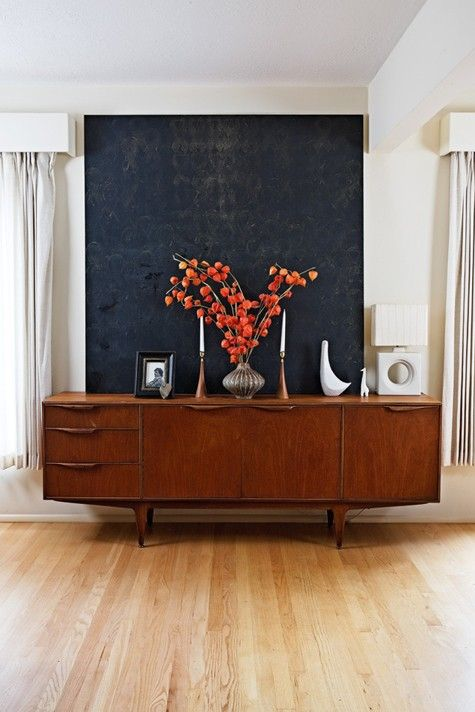 Mcm credenza, Jonathan Adler menagerie and Danish Candle sticks.