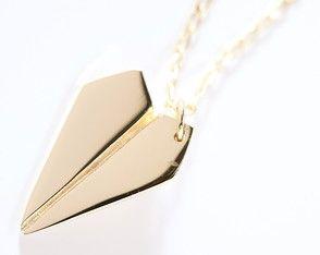 Colar Avião de Papel Ouro