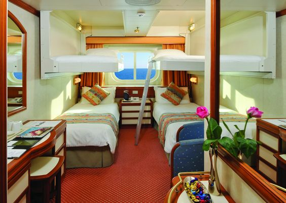 Inside cabin with upper berths oceana p o cruising for P o cruise bedrooms