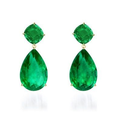 2.5M Lorraine Schwartz 115-carat Colombian Emerald Earrings worn by Angelina Jolie