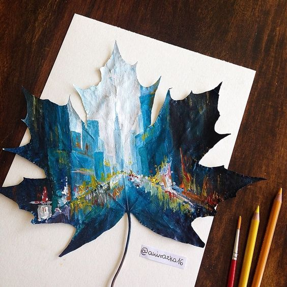 Artist Joanna Wirazka uses fallen leaves as canvases to create beautiful landscapes artworks