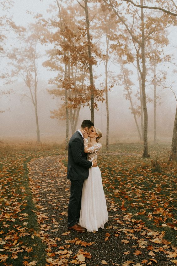 Hadley and Mike's November Wedding at Beech Hill Barn — Pinch Me Planning - Maine and New England Wedding Planner - Wedding Dress - Bride - Groom - Love - Fall - Foliage - Trees