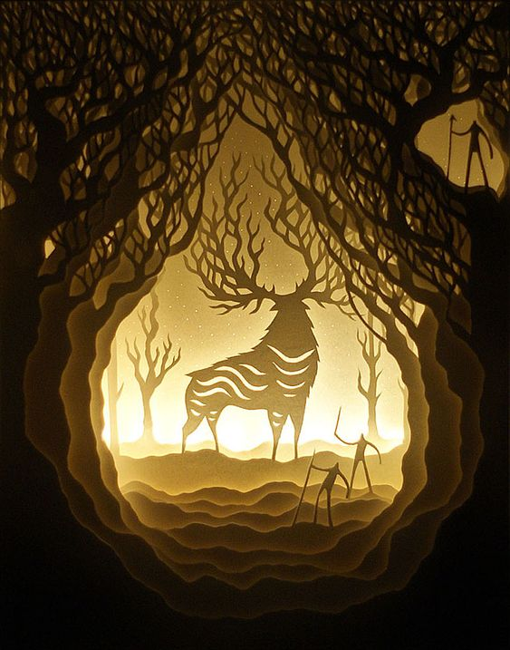 Harikrishan Panicker and Deepti Nair, who both hail from India, go by the duo artist name of Hari & Deepti. Together they create small and large diorama artworks made of intricately cut layered paper lit by LED lights. the illuminated one IIHIH
