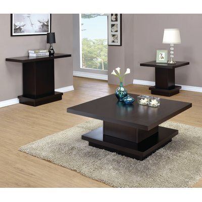 Seese Wood Cocktail Table Set With Images Coffee Table Coffee