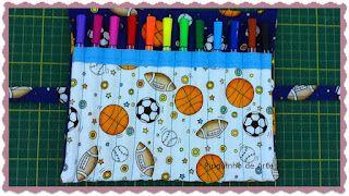 ARTE COM QUIANE - Paps,Moldes,E.V.A,Feltro,Costuras,Fofuchas 3D: Pap Estojo Porta Lapis de tecido
