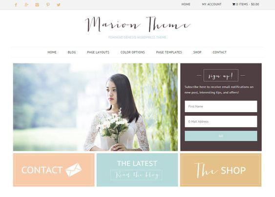 Ecommerce Wordpress Theme / Genesis Child Theme / Woocomerce Theme / Marion Theme / Gold Coral Mint / Responsive Feminine Website /