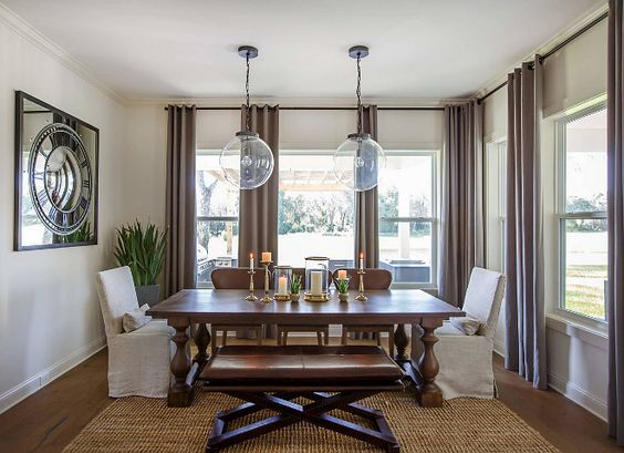 Breakfast Room. Elegant Breakfast Room features two Glass Globe Pendant Light Fixtures. #Breakfastroom #GlassGlobePendantLightFixture breakfast-room Cottage Home Company
