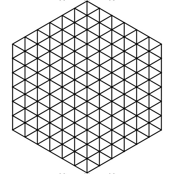 This is a six-triangles-per-side hexagon grid that is transparent - hexagon graph paper