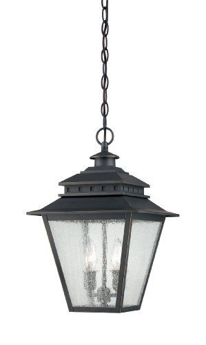 Quoizel CAN1911WB Carson 2 Light Chain Hung Outdoor Wall Lantern by Quoizel. $160.19. Uses (2) 60W Candelabra Base Bulbs. Comes with 8-Feet wire and 12-Feet chain. Weathered Bronze Finish. 17-InchH, 11-Inch D. Clear Seedy Glass Shade. Carson 2 Light Outdoor Chain Hung Wall Lantern.