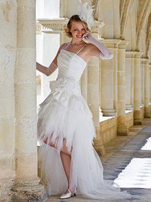 Robe de mariée : Courte devant et longue