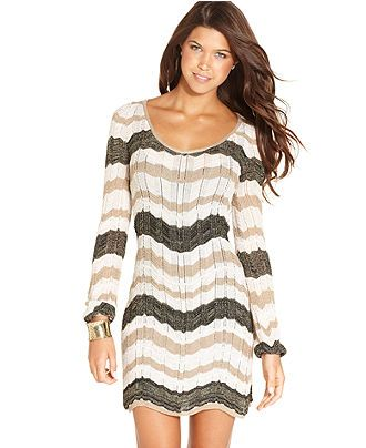 XOXO Juniors Dress, Long,Sleeve Zigzag,Knit Sweater Dress , Juniors Dresses ,