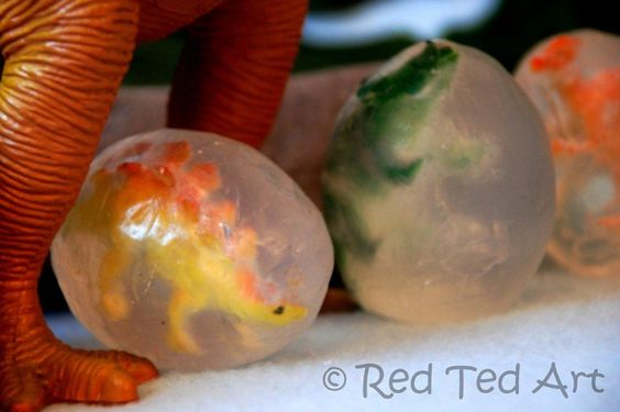 DIY Dino Egg Soaps by redtedart: Brilliant! Kids will want to wash their hands! Just melt and pour. #DIY #Kids #Soap #Dinosaur