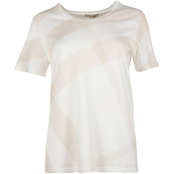 Burberry Short Sleeve T-Shirts ($240) ❤ liked on Polyvore featuring tops, t-shirts, apricot, round neck t shirt, white tee, short sleeve t shirt, burberry t shirt and short sleeve tee