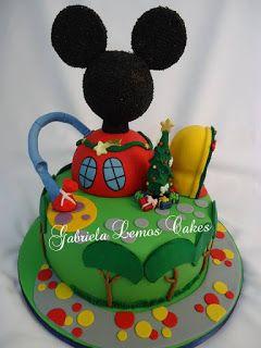 Bolos em Pasta Americana - Designer de bolos - Bolos Decorados - Doces Cupcake Gabriela Lemos Cakes: Bolo A Casa do Mickey Mouse