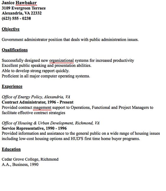 Example Of Public Administrator Resume - http\/\/resumesdesign - government contract administrator sample resume