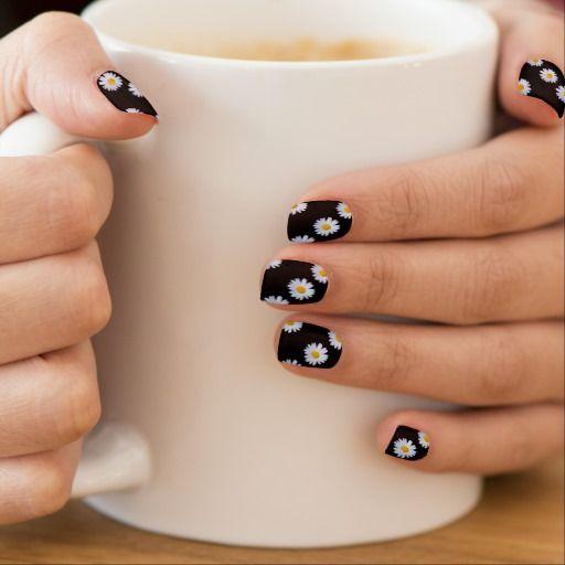 Trendy Daisy on black Minx Nails - white yellow Nail Wrap