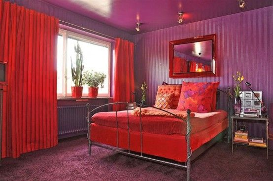 Superb Colorful Swedish Apartment In A Crazy Mix Of Red Shades | Dreams |  Pinterest | Purple Bedrooms, Apartments And Wall Beds