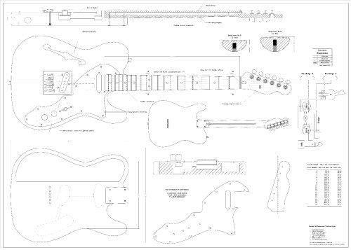 Full Scale Plans For The Fender Telecaster 1969 Thinline Electric