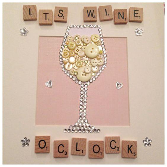 Wine glass button art can make Red wine if by ButtonNButterflies