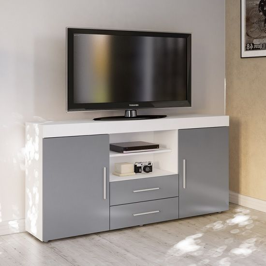 Amerax Tv Sideboard In White And Grey High Gloss With 2 Door