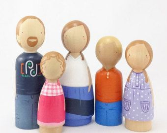 Cheville en bois poupées / / Custom Peg Portrait de par PegHeads