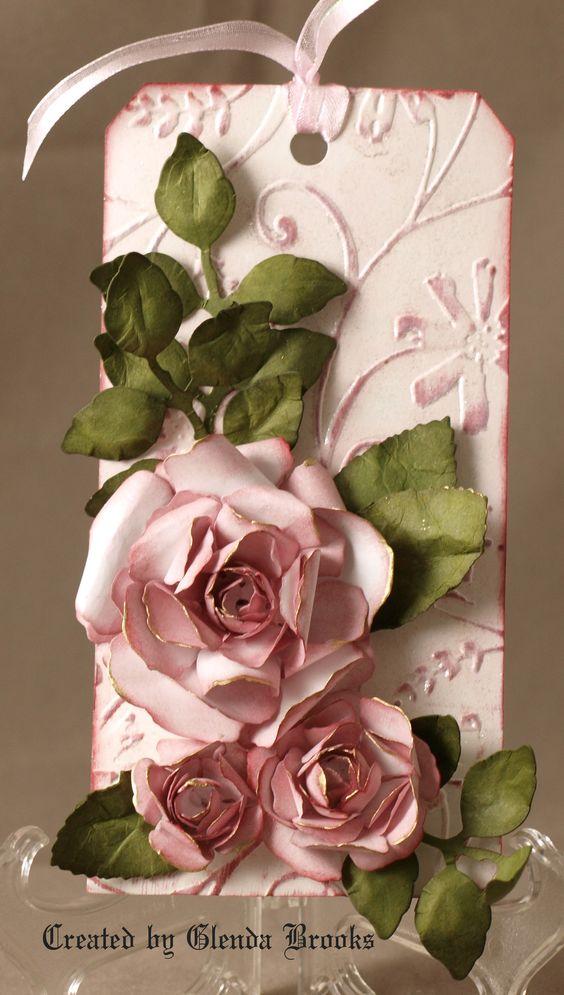 Rose Tag...: Paper Craft, Papercraft, Atc, Pink Rose