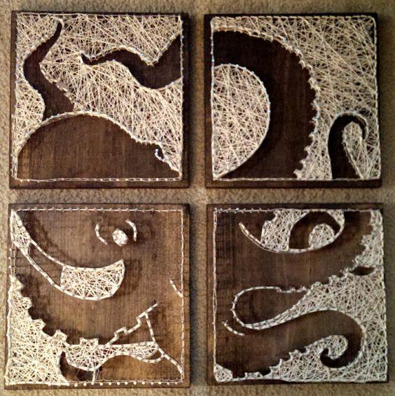 4 paneles de pulpo, uñas y arte en cadena *diseño Original*