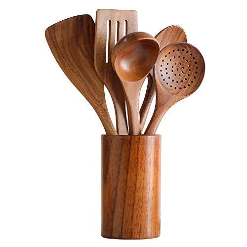 Healthy Cooking Utensils Set Wooden Cooking Tools And Storage Wooden Barrel Natural Nonstick Hard Wood Spatula And Spoons Durable Eco Friendly And Safe Kitch Wooden Cooking Utensils Wooden Kitchen Utensils Kitchen