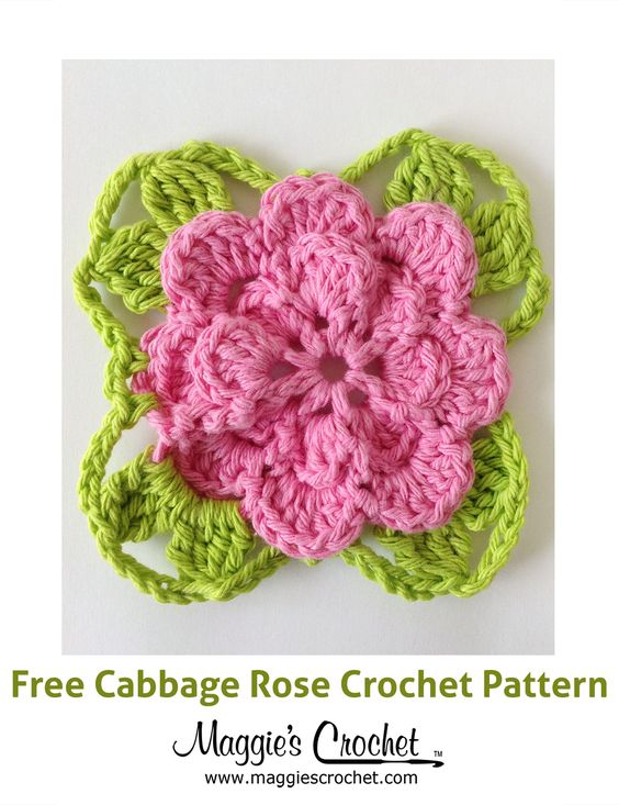 Free Crochet Pattern For Cabbage Rose : Cabbage Rose Free Crochet Pattern from Maggies Crochet ...