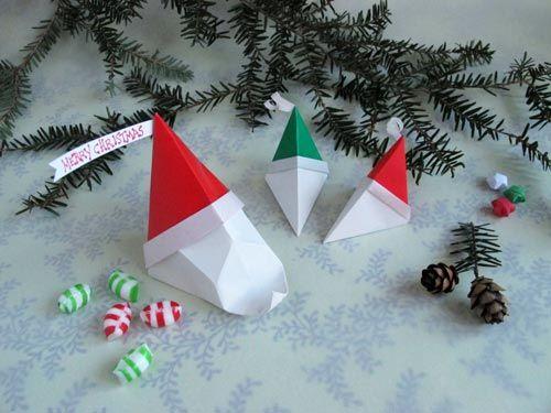 Origami santa claus and elf gift box origami santa for Make origami santa claus