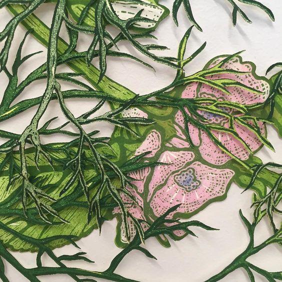Sneak peak #printmaking #reliefprint #woodcut #blockprint #lasercut #wip #flowerpower #healingplants #mfa by sam_cik
