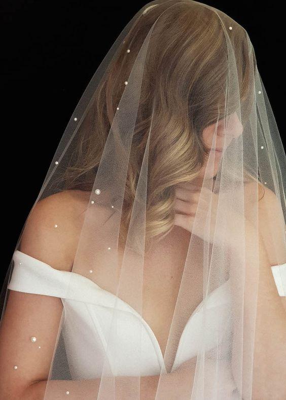 NADIA long pearl bridal veil 5