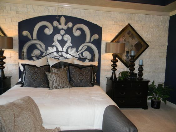 When I'm finished with the stone it will look like this except the plan right now is to do the whole wall behind the bed...always wanted a stone wall in my bedroom then I saw this in a model home and it looks so good I'm going to do it too