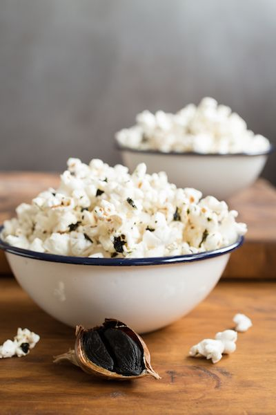 Black garlic-sesame popcorn is classy enough to serve at a party, but easy enough for a night on the couch.