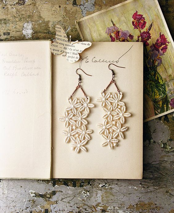 lace earrings  FLEURETTE  long chandelier earrings  by whiteowl, $22.00