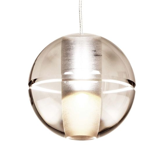 "14 Series by Omer Arbel for Bocci - Each individual pendant is blown borosilicate glass with an articulated cast glass sphere with a frosted cylindrical void that houses either a 10 watt xenon or 1.8 watt LED lamp.The mini canopy is just over 1"" (29mm) in diameter and 0.5"" (13mm) deep, strain relief installation. 3m braided metal coaxial cable, brushed nickel canopy (specs: http://bocci.ca/assets/TechSpecs/English/14-1-Euro-Specifications.pdf)"