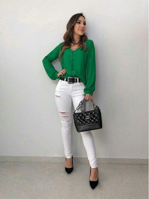 Pantalón Blanco Como Combinar Pantalon Blanco Pantalón Blanco Mujer Ropa De Moda