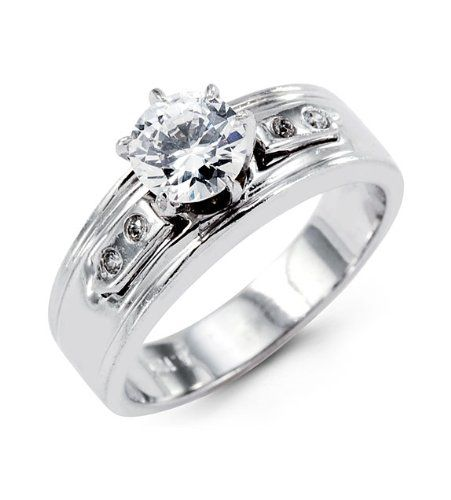 duck band rings | New 14k White Gold Wide Band Round CZ Engagement Ring