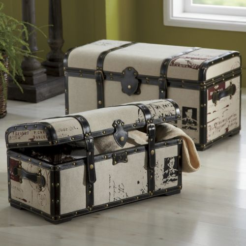LOVE!!!!! Set of 2 Steamer Trunks from Seventh Avenue ®