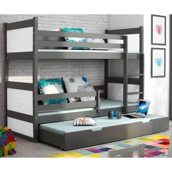 lit superpos rico 3 en pin 200x90 gris search chang 39 e. Black Bedroom Furniture Sets. Home Design Ideas
