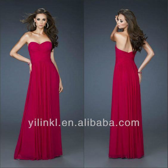 Simple V-Neck Empire  Chiffon Red Long Floor Length Prom Evening Dresses